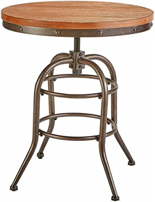 Farmhouse End Table Wood Metal Adjustable Height Circular Rustic-chic Accent Table Living Room Foyer Entryway Bedroom Home Furniture Antiqued Black Finish Round Top Table Decor &eBook by BADA shop