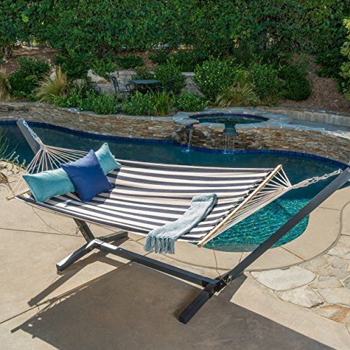 Aspen Outdoor Navy Blue and White Striped Water Resistant Hammock with Grey Larch Wood Frame by Christopher Knight Home (Wood Furniture Outdoor Larch)