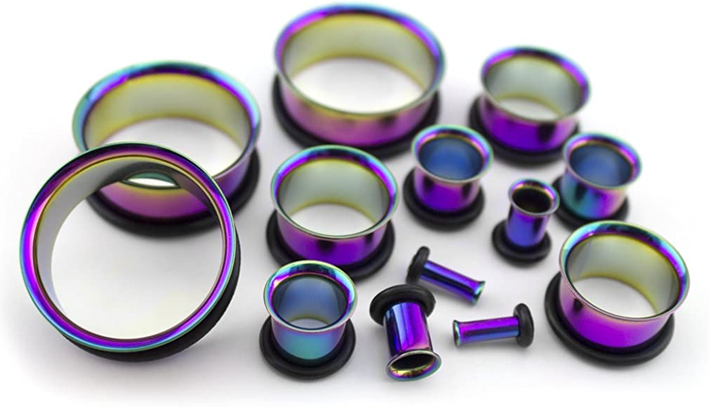 Pair of 14 Gauge (14G - 1.6mm) Rainbow Steel Single Flare Tunnel Plugs