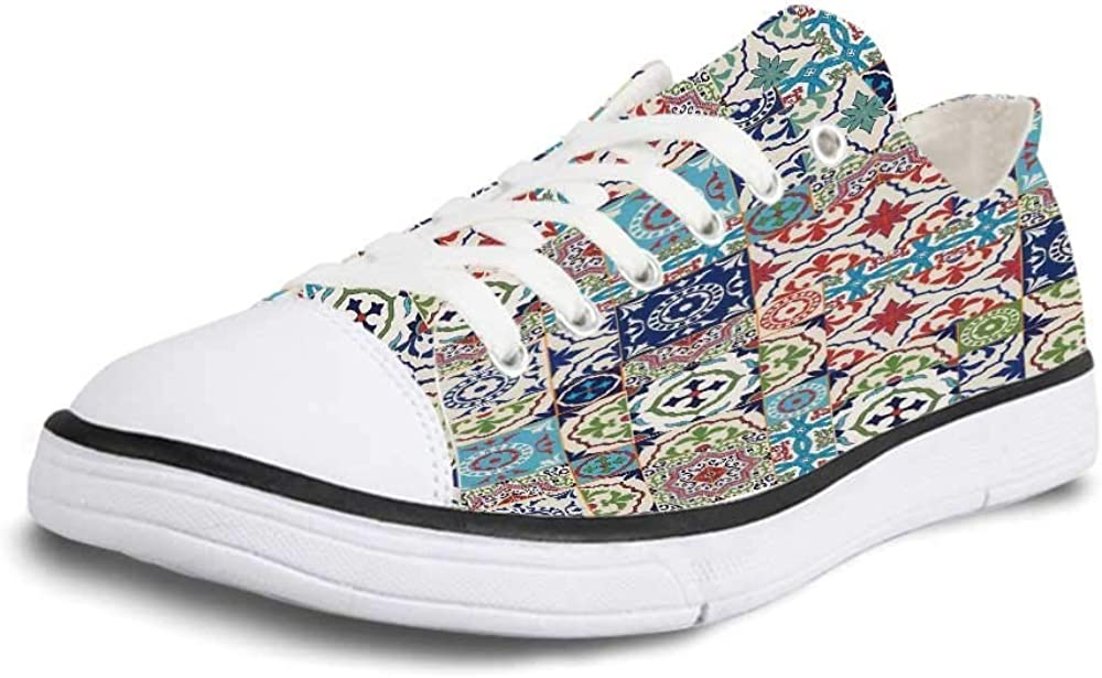 GULTMEE Canvas Sneaker Low Top Shoes,Moroccan Patchwork Pattern from Colorful Moroccan Tiles Traditional Decorating Illustrations