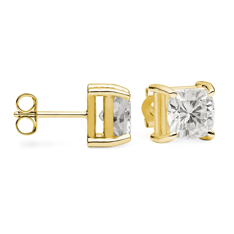 14K Yellow Gold 6.5mm Cushion Cut Moissanite Stud Earrings, 2.60cttw DEW By Charles & Colvard by Charles & Colvard