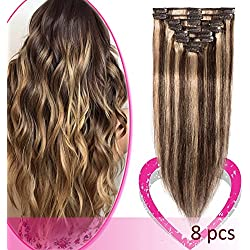 Remy Clip in Hair Extensions 100% Human Hair 16 Inch 65g Standard Weft 8 Pcs 18 Clips Thick Straight Hair for Women Beauty Balayage #4/27 Medium Brown Highlighted with Dark Blonde