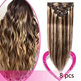Remy Clip in Hair Extensions 100% Human Hair 18 Inch 70g Standard Weft 8 Pcs 18 Clips Thick Straight Hair for Women Beaut Balayage #4/27 Medium Brown Highlighted with Dark Blonde