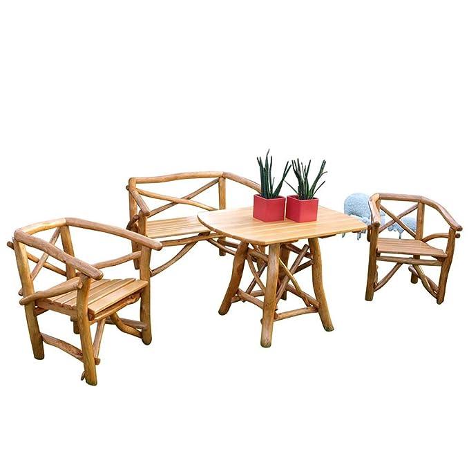 Pharao24 Garten Sitzgruppe aus Knüppelholz massiv: Amazon.de: Küche ...