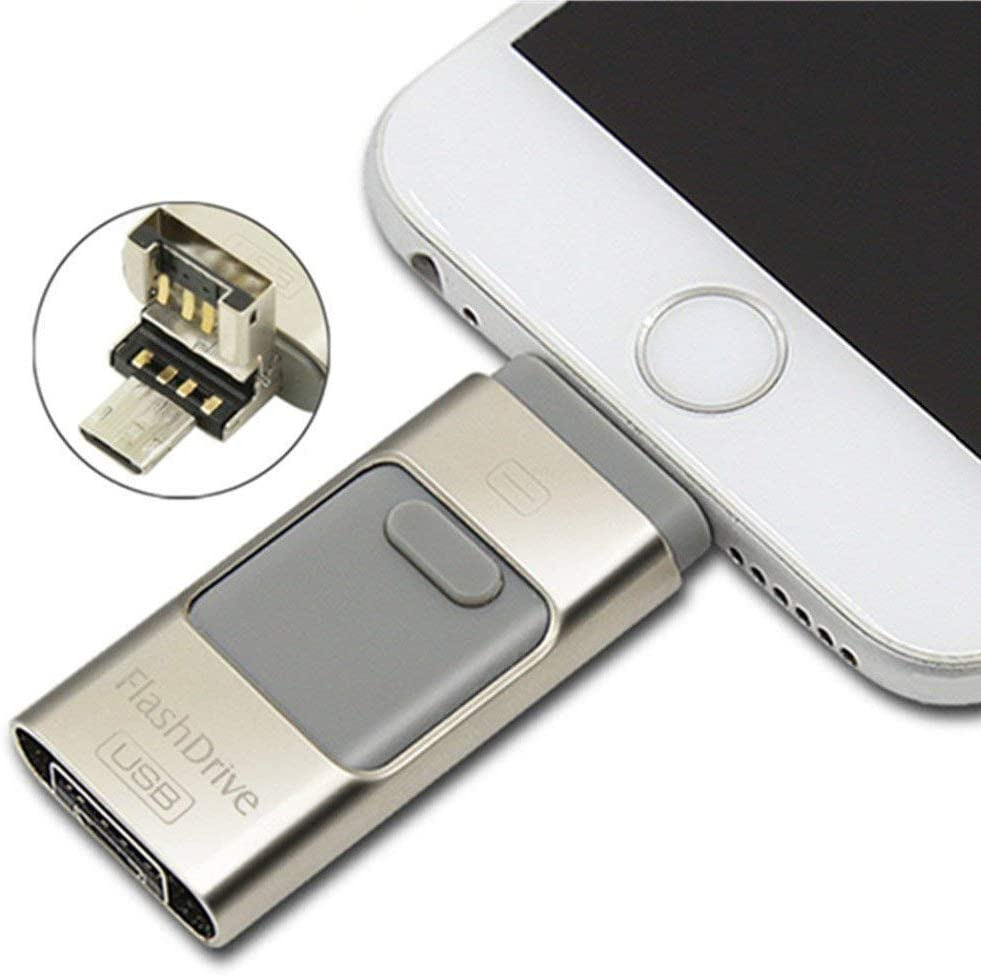 Portable Hard Drive 3 in 1 USB 3.0 Flash Drive USB OTG Storage Phone Storage Expansion Compatible with All iPhone Android Phone /& PC Fast Data Transfer Reading 85M//S Writing 56M//S 32GB, Rose-Gold