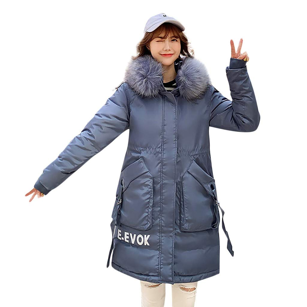 Fashionhe Winter Warm Outerwear Long Sleeve Overcoat Hooded Down Jackets Cotton-Padded Letter Coats Top(Blue.3XL) by Fashionhe