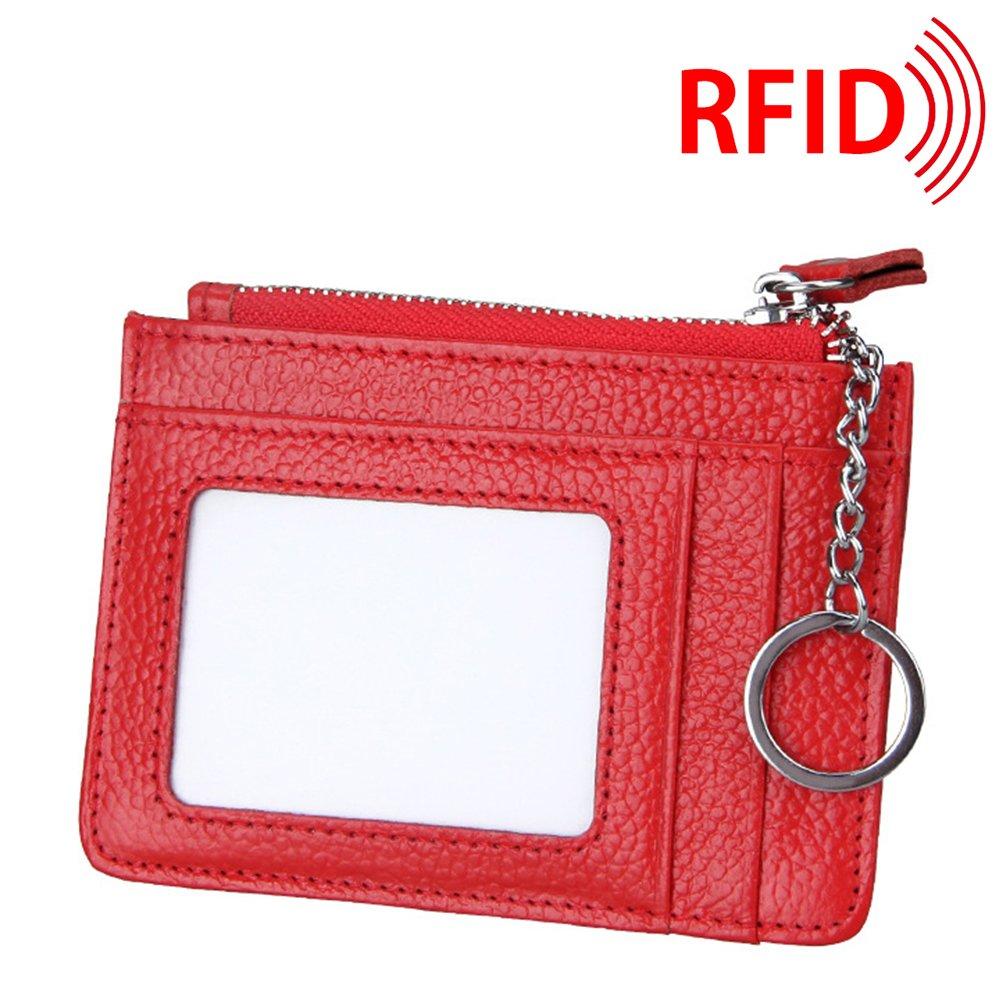 MuLier Genuine Leather Womens Slim Zipper Credit Card Holder Wallet RFID Mini ID Case with Key Ring (Black) CH0032-black