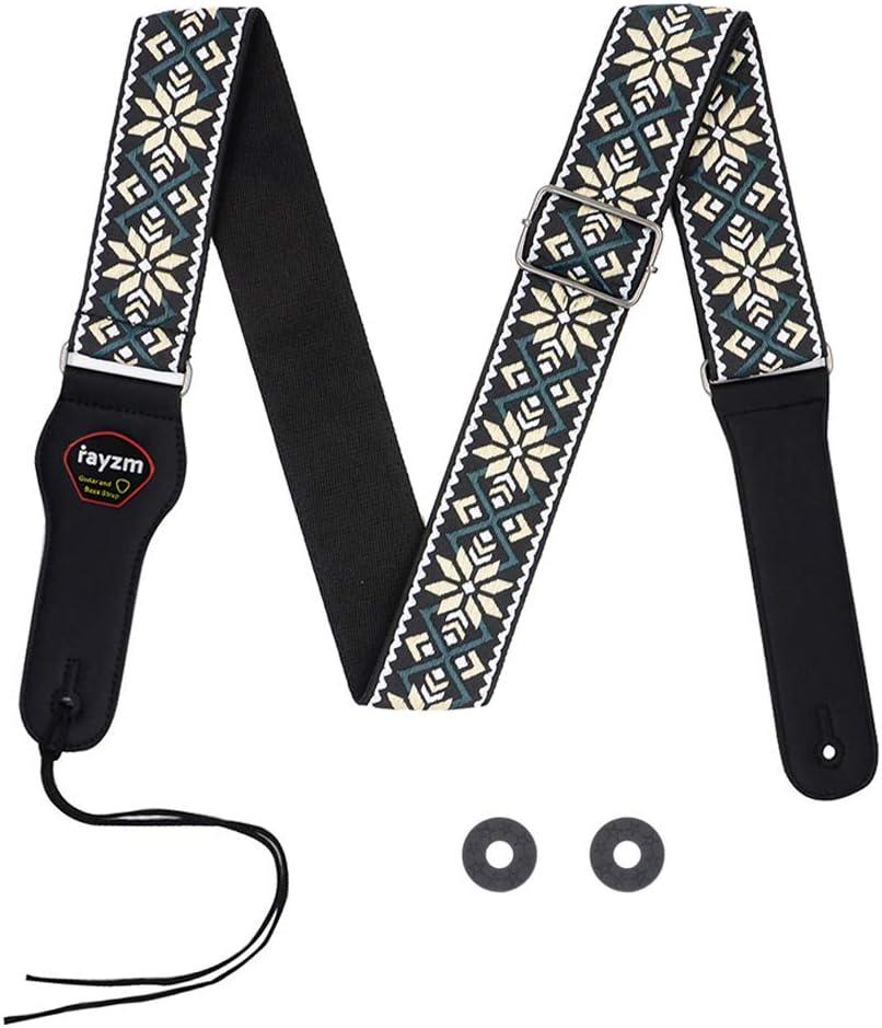 Correa de guitarra bordada Rayzm, correa de algodón con tejido Jacquard para guitarra/bajo acústico/eléctrico con bolsillo de púas y bloques de correa