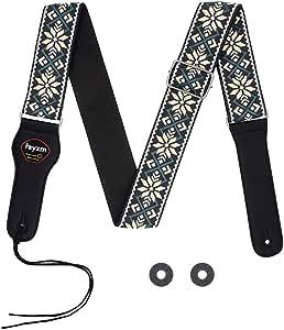 Correa de guitarra bordada Rayzm, correa de algodón con tejido Jacquard para guitarra/bajo acústico/eléctrico con bolsillo de púas y bloques de correa (para guitarra)