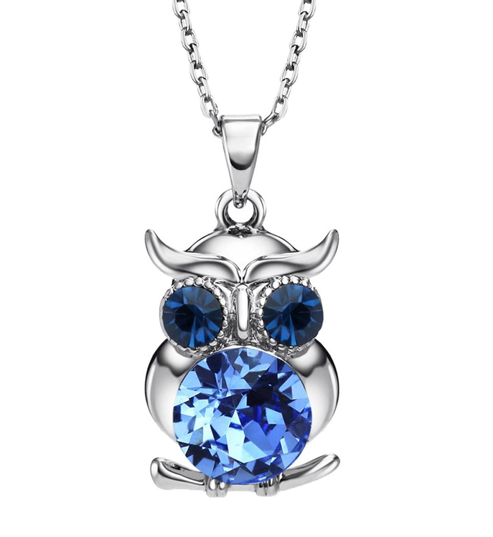 NEOGLORY Collar de Búho con Cristales SWAROVSKI AZUL CHAMPAGNE Joya Original Regalo