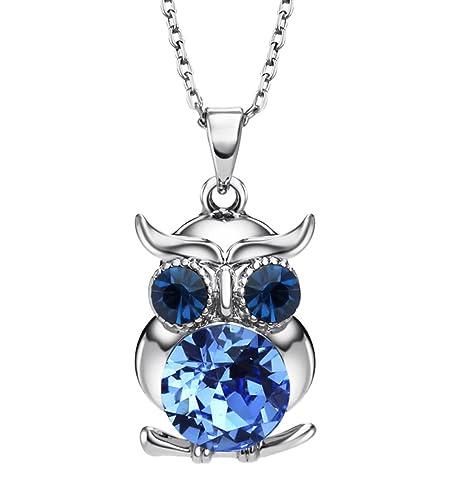 94416a9274a2f NEOGLORY Collar de Búho con Cristales SWAROVSKI AZUL Joya Original Regalo  Niña Chica Mujer  Amazon.es  Joyería