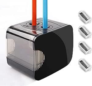 Sacapuntas eléctrico, Sacapuntas automático Qhui para niños, Batería y USB operado con deposito, Agujeros doble para No.2 y lápiz de colores para aula, oficina, escuela y hogar, Negro