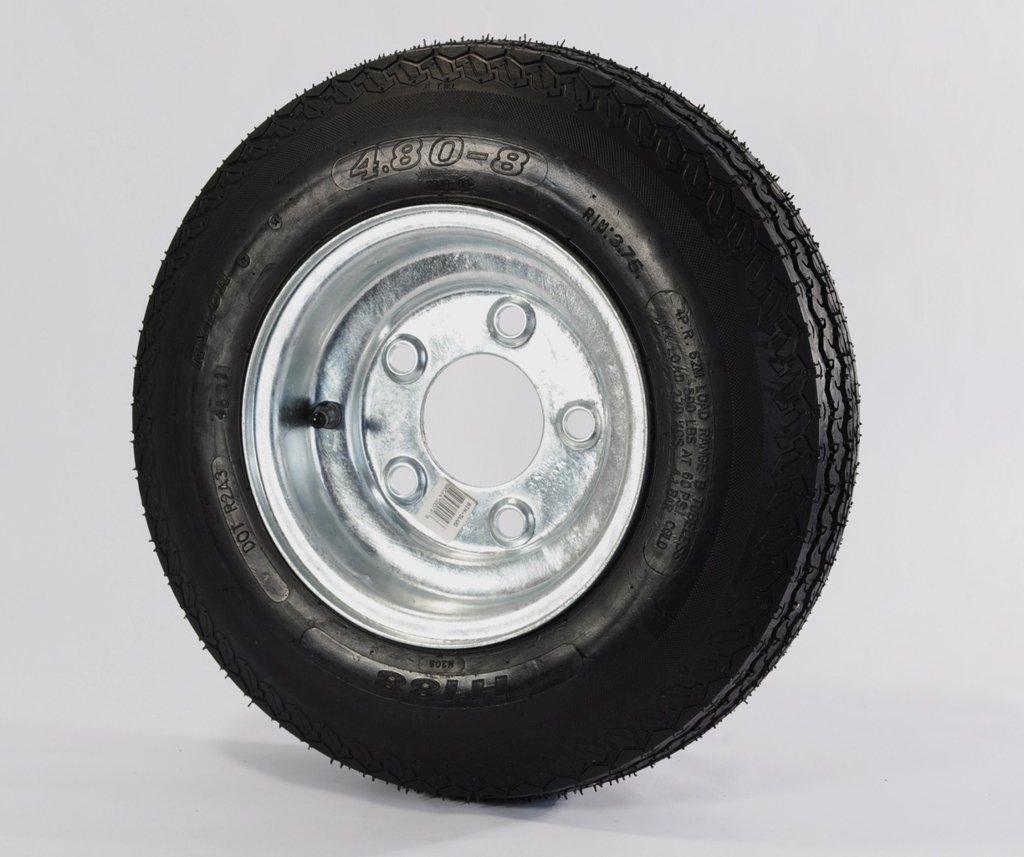 eCustomRim 2-Pk Trailer Tire & Rim 480-8 4.80-8 Load C 5 Lug Galvanized 53941