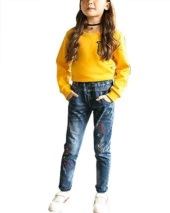 Jeans para niñas Pintar Pantalones Denim Bordado Pantalones ...