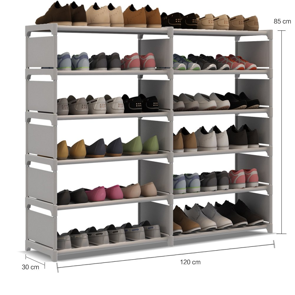 UDEAR 6 Tie Portable Shoe Rack 36 Pair Storage Cabinet Organizer Shoes Rack Shelf 30 120 85CM Grey