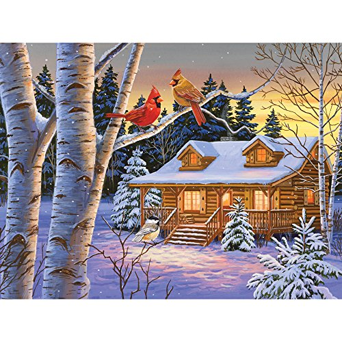 Bits and Pieces - 500 Piece Jigsaw Puzzle for Adults - Rustic Retreat - 500 pc Snowy Winter Scene Jigsaw by Artist William Vanderdasson