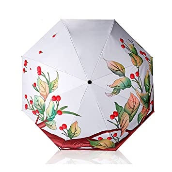 Paraguas de Sol Mujer Automático 3D Impreso Sombrilla A Prueba de Viento Pegamento Negro Creativo Protección UV Paraguas Plegables triples Señoras 8K ...