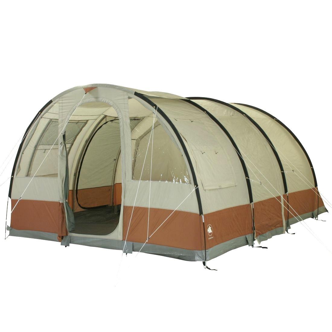 10T Camping-Zelt Livingston 5 Tunnelzelt mit Schlafkabine für 5 Personen Outdoor Familienzelt mit Wohnraum und Sonnendach Aufstellstangen, eingenähte Bodenwanne, wasserdicht mit 5000mm Wassersäule
