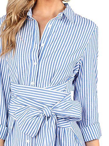 Collar Belted Blue up Striped Cute Button ROMEWE Summer Short Shirt 1 Women's Dress BxpwOntY