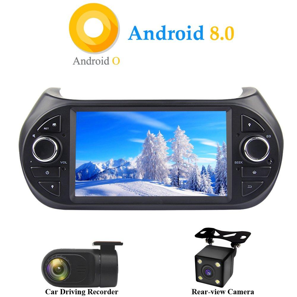 XISEDO Android 8.0 Autoradio 1 Din In-Dash 7 Zoll Car Radio 8-Core RAM 4G ROM 32G Autonavigation Car Radio fü r FIAT Qubo/FIAT Fiorino/Peugeot Bipper/Citroen Nemo 2008-2016 (mit Rü ckfahrkamera)