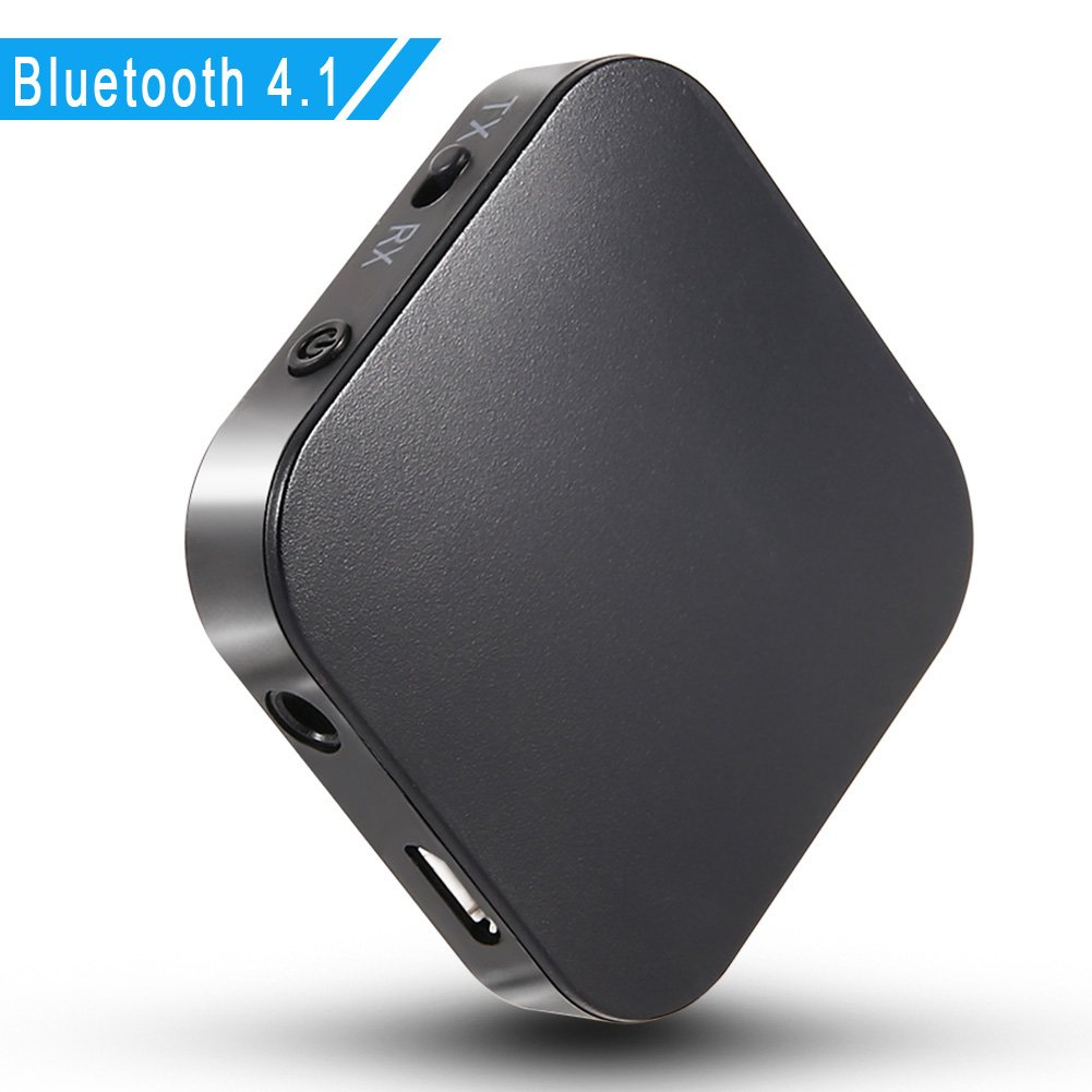 TopOne Bluetooth Transmitter / Receiver, 2 In 1 Wireless Portable Audio Adapter Bluetooth Dongle Bluetooth 4.1, APT-X Low Latency 2 Devices Simultaneously for Home / Car Sound System,Headphones,TV