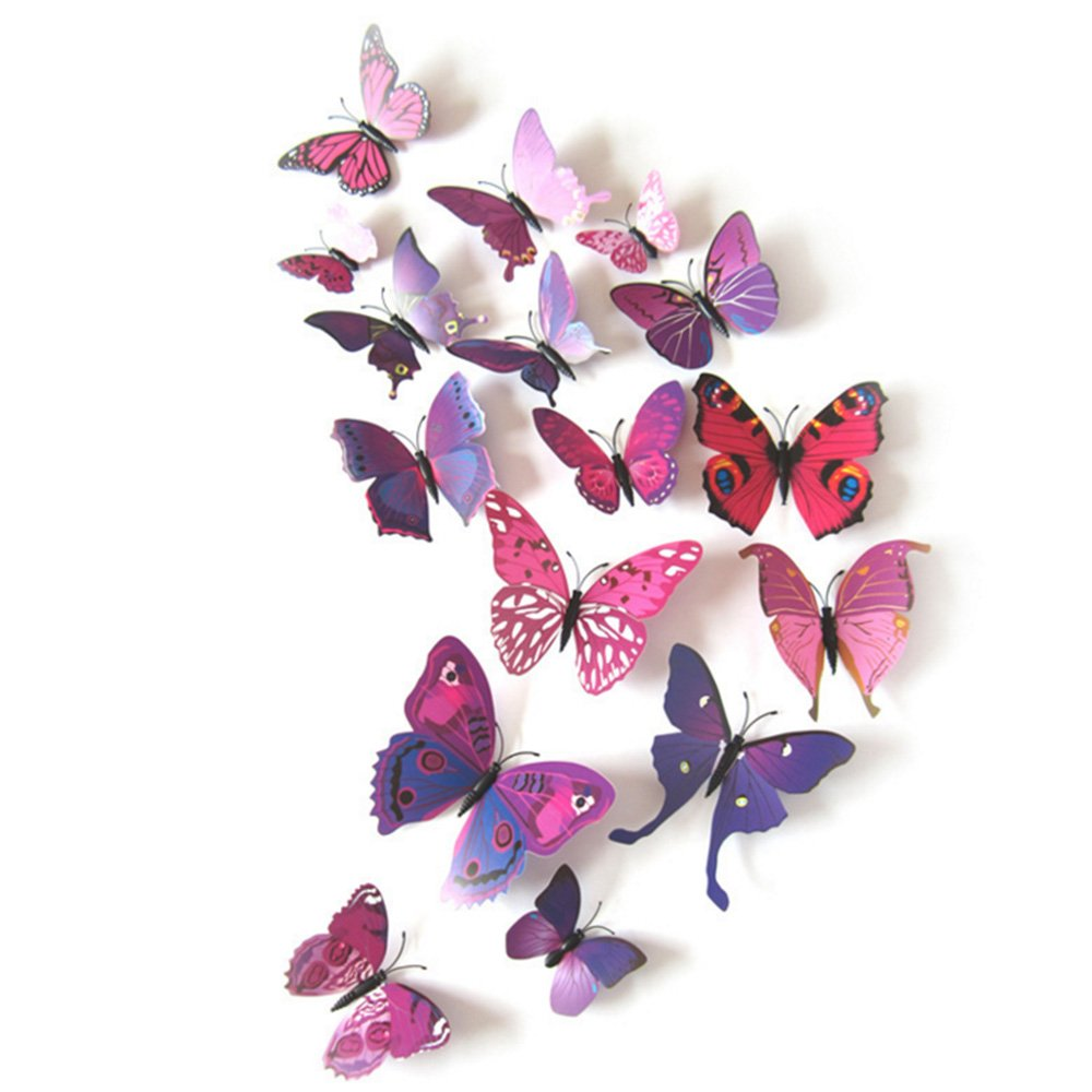 12 Pieces 3D Butterfly Stickrs Fashion Design DIY Wall Decoration House Decoration Babyroom Decoration-BLACK ZOOYOO AEQW-WER-AW146512