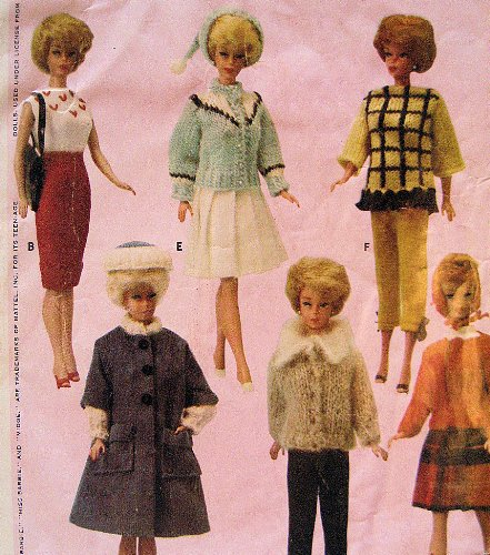 Amazon Mccalls 7431 Vintage 60s Knit Wardrobe For Fashion Doll