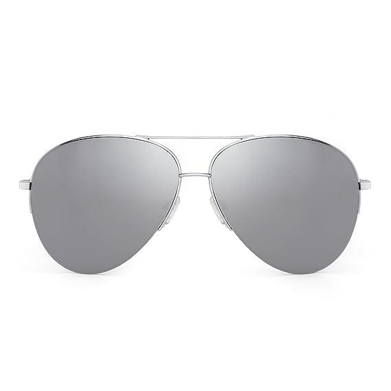Miroir Rétro Aviateur Des lunettes de Soleil Lunette Demi Cadre  Surdimensionnées Femme Homme (Argent  940aa2660559