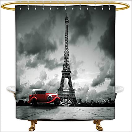 Qinyan Home Decor Shower Curtains Artistic Image Of Effel Tower Paris France And Vintage Car