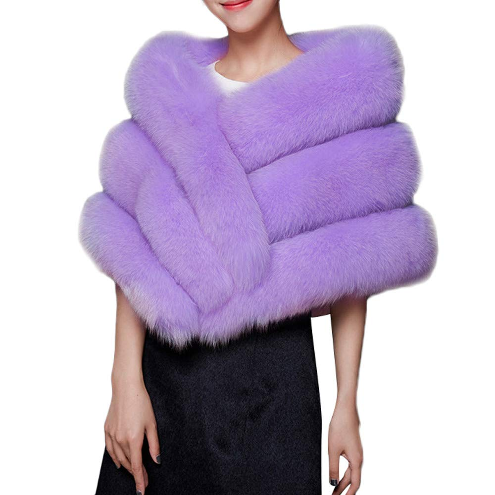 GREFER Faux Fur Shawl Wrap Stole Shrug Winter Bridal Wedding Evening Party Cover Up (Purple)