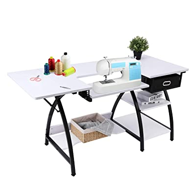 Buy Bahom 2 In 1 Adjustable Sewing Craft Table Desk With Storage Drawer Multifunctional Craft Cutting Table With 2 Shelves Sturdy White Online In Slovakia B08b1czfqg