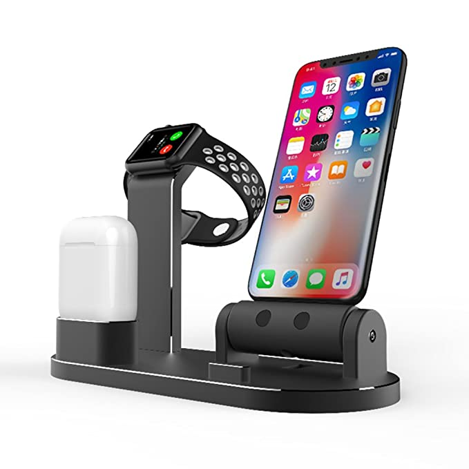 best loved 1c782 f40ff FACEVER 3 in 1 Aluminum Charge Dock Stand Holder Charging Station  Compatible Apple Watch iWatch Series 4 3 2 1 Airpods iPhone X XS XS MAX 8 8  Plus 7 7 ...