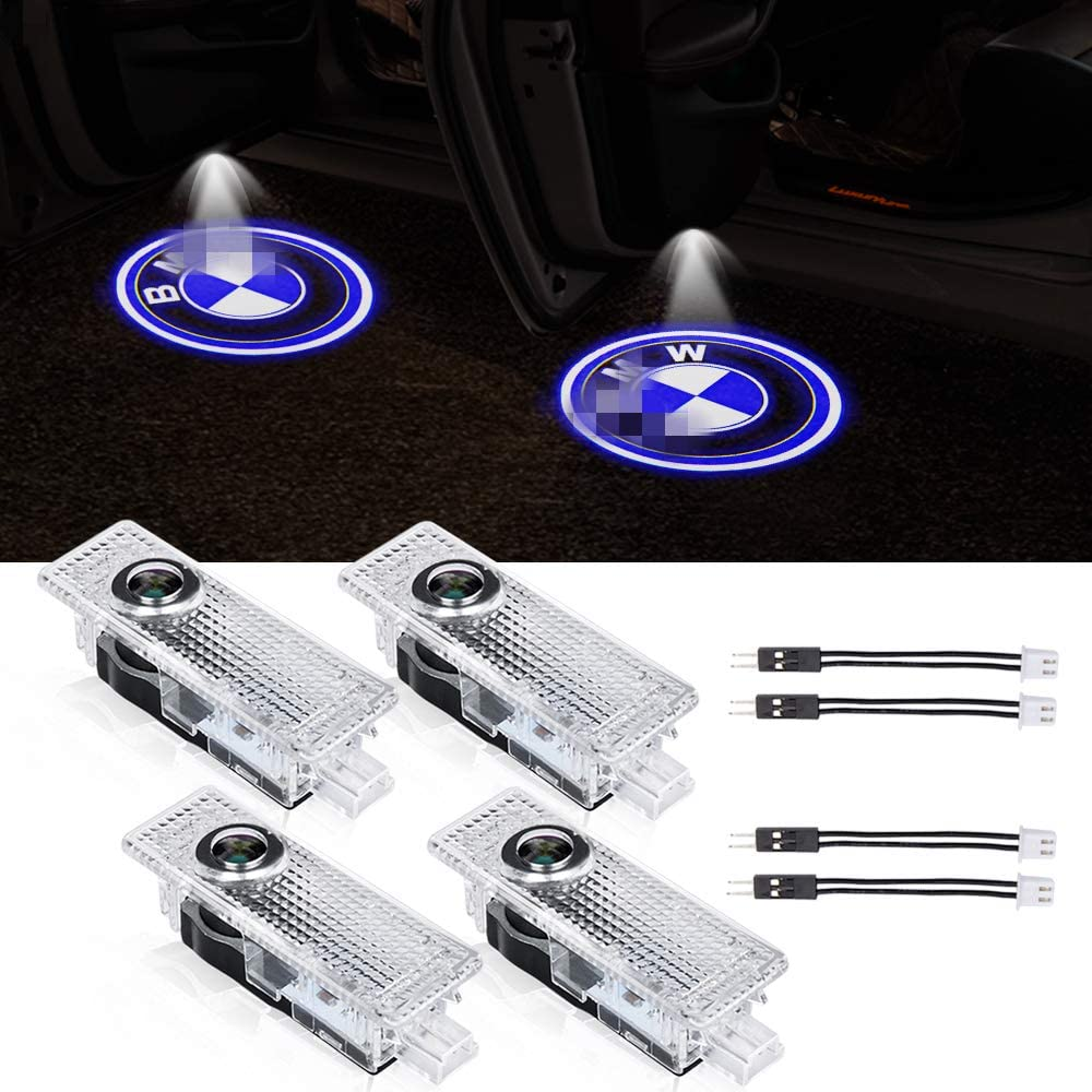 Car Door Logo Lights Projector Shadow Ghost Emblem Welcome Lamp Puddle Lights for BMW 3 5 6 7 X Z Series LED Door Lights Replacement Auto Accessories 4 PCS