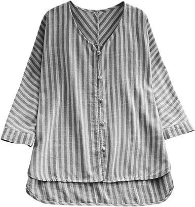 DressLksnf Camiseta Talla Grande Moda para Mujer Tops de Lino Camisa Cómodo Camisero con Volante de Rayas Cuello V Top Básico Suelto Blusa con Botón: Amazon.es: Ropa y accesorios
