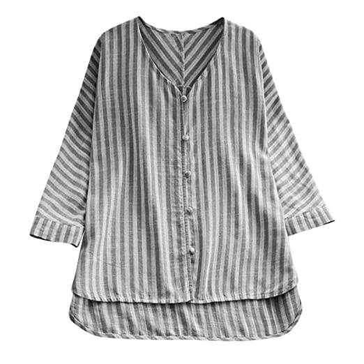 373eccb8ff2f8a JPOQW-summer Women's Cotton Linen Blouse Striped Button Plus Size Long  Sleeve V Neck T-Shirt at Amazon Women's Clothing store: