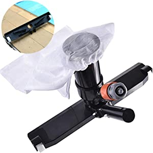 "GKanMore Swimming Pool Vacuum Head with Bag Brush and EZ Clip Handle 14"" Wide Vacuum Cleaner for Pool Spa Pond Jacuzzi Tub Cleaning Supplies and Accessories (Black - Not Pole)"