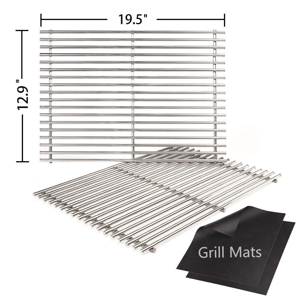 SHINESTAR 19.5 inch Solid Stainless Steel Cooking Grates Replacement for Weber Genesis 300 Grill Grates 7528 7524, for Genesis 310/320/330, E/S-310 E/S-320 E/S-330 EP-310, 19.5 x 12.9 Grates Set of 2