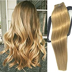Clip in Hair Extensions Human Hair Strawberry Blonde 70g 7 Pieces per Set Silky Straight Weft Remy Hair (20 inches, #27)