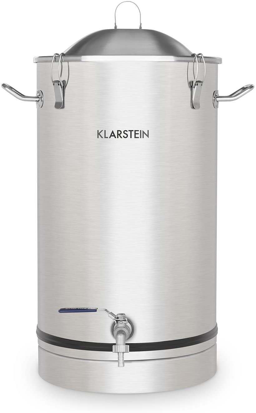 Klarstein Maischfest - Caldera de fermentación, Tanque de maceración, Apto para preparación de cerveza y vino, Volumen 30 L, Grifo de salida, Higiénico, Seguro, Hermético, Acero inoxidable