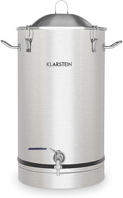 Klarstein Maischfest - Caldera de fermentación, Tanque de maceración, Apto para preparación de cerveza y vino, Grifo de salida, Higiénico, Seguro, Hermético, Acero inoxidable, Volumen 25 L, Plateado