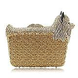 Milisente Women Evening Bag Puppy Crystal Clutch Purse Party Evening Handbag (Gold)
