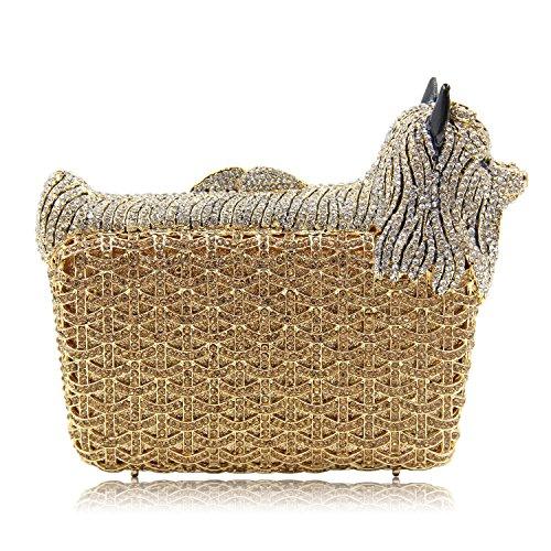 Milisente Women Evening Bag Puppy Crystal Clutch Purse Party Evening Handbag (Gold) by Milisente (Image #7)