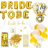 Bachelorette Party Decorations - Party Supplies for Bridal Showers   Engagement Party Accessories   Latex + Ring Foil Balloons, Bride to Be Sash, Glitter Confetti, Straws   Gold & White Themed Kit