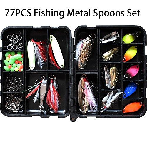 77pcs Hard Metal fishing Spoons Lure Set Luminous Fishing Bait Metal Spoons Spinner Lure for Bass Trout Carp Salmon Panfish Freshwater Saltwater