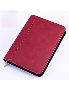 ZLJHH Cuaderno A5 Pu De Cuero Con Cremallera Carpeta Agenda ...
