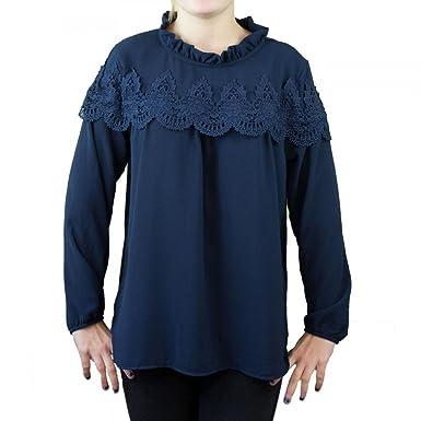 45f64d7fde Blouse femme fluide bleu marine motif dentelle et col montant-Taille unique