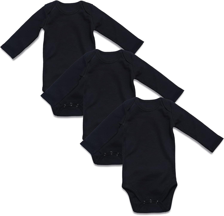 Unisex Baby 3 Pack Long Sleeve Bodysuits Newborn-18 months Brand New