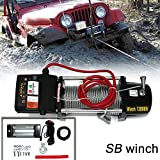 VIOJI 13000lb / 5910kg Capacity 12V Electric Recovery Waterproof Winch With Wired Switch & Wireless Remote for Pickup Truck Car SUV Jeep Trailer Boat