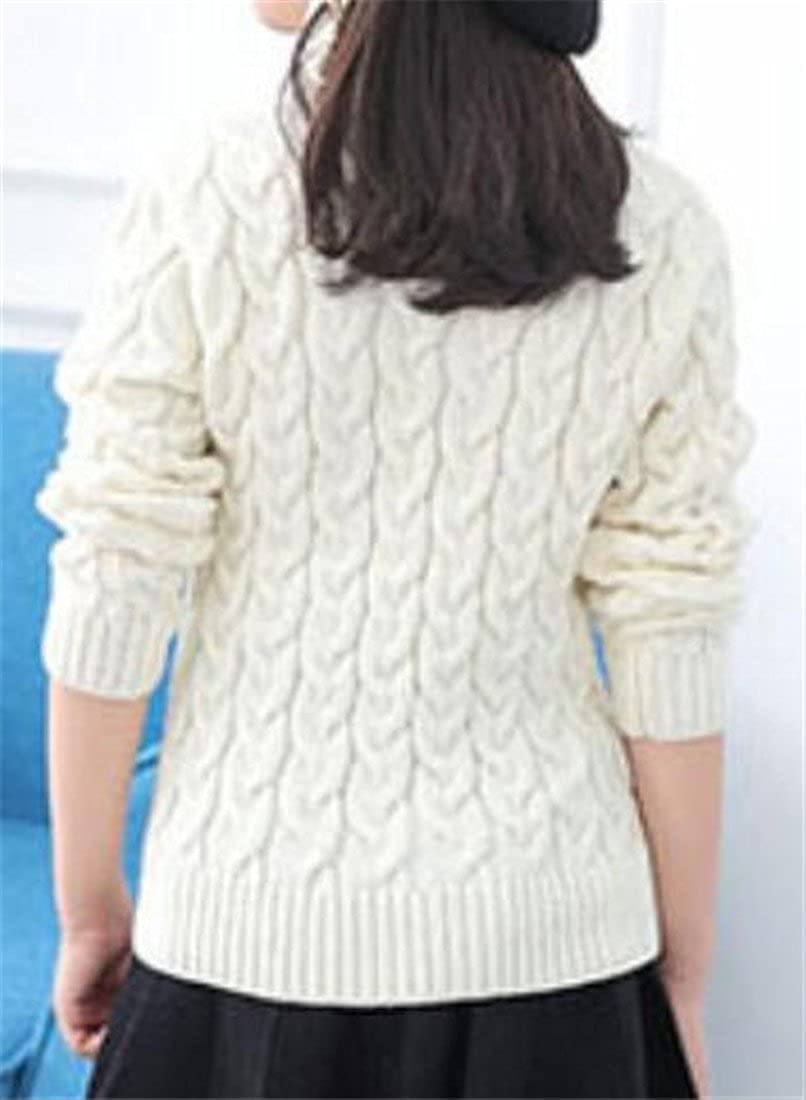 uninukoo-childrens-costumes Unko Girls Winter Cable Knit Turtleneck Solid Pullover Jumper Sweaters