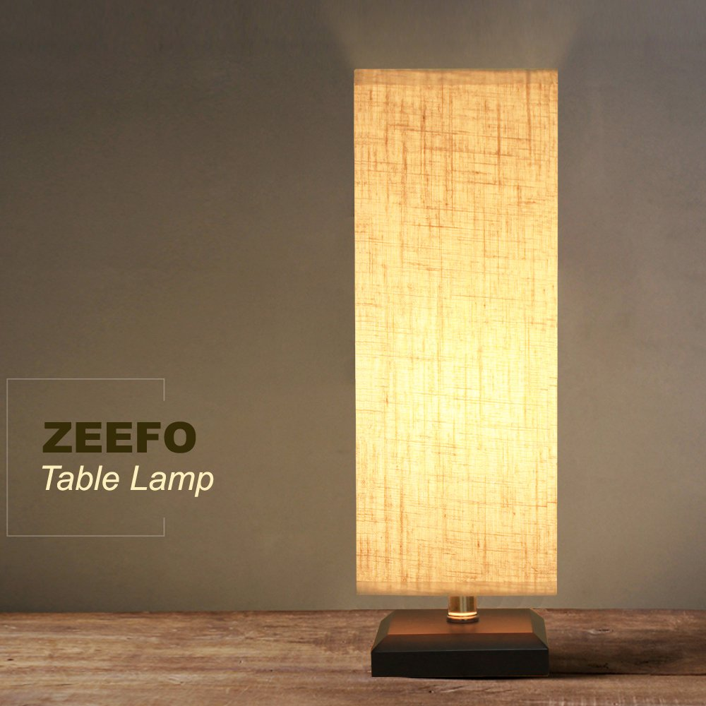 ZEEFO Bedside Table Lamp, Retro Style Solid Wood Table Lamps with Fabric Shade Nightstand Mini Desk Lamps for Bedroom, Living Room, Baby Room, Bookcase (Square) by ZEEFO (Image #9)